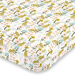 NoJo® Cheetah Flower Fitted Mini Crib Sheet in Yellow