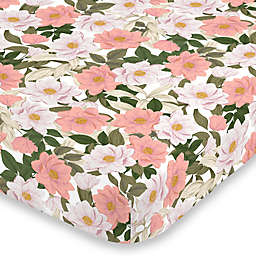NoJo® Floral Mini Fitted Crib Sheet in Pink