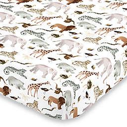 NoJo® Water Color Jungle Friends Fitted Crib Sheet in Tan