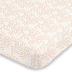 NoJo® Neutral Cheetah Mini Fitted Crib Sheet in Pink
