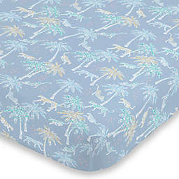 NoJo® Watercolor Tropical Cheetah Mini Fitted Crib Sheet in Blue