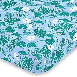 NoJo® Flamingo Palm Fitted Mini Crib Sheet in Green