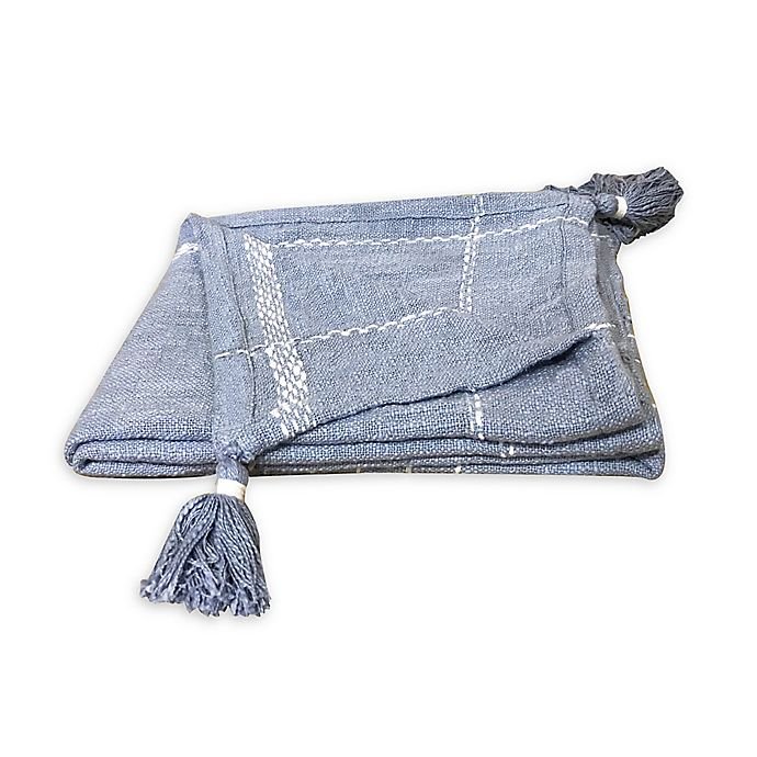 Alternate image 1 for Bee & Willow™ Plaid Throw Blanket in Blue/Cream