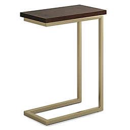 Simpli Home Skyler C-Shaped Side Table in Dark Brown/Gold