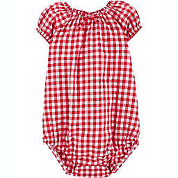 OshKosh B'gosh® Gingham Short Sleeve Bodysuit in Red/White