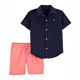 carter's® 2-Piece Dot Short Sleeve Shirt and Short Set in Blue/Peach