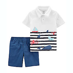 carter's® 2-Piece Sea Life Jersey Polo Shirt and Poplin Short Set in Blue
