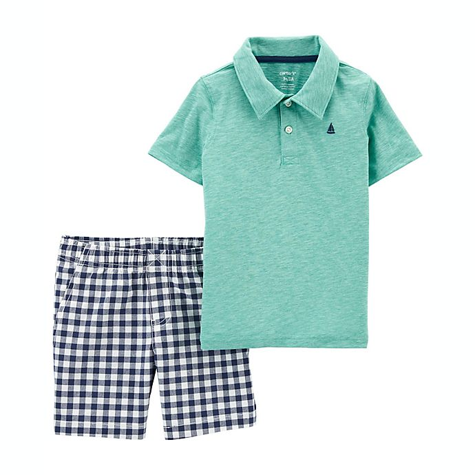 Alternate image 1 for carter's® Size 24M 2-Piece Jersey Polo and Short Set in Mint