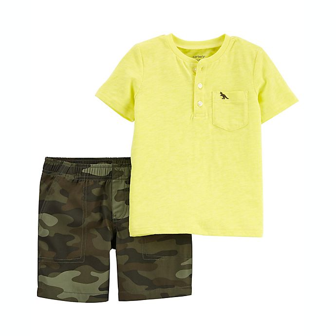 Alternate image 1 for carter's® 2-Piece Henley T-Shirt and Camo Short Set in Yellow