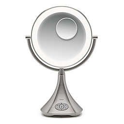 iHome® Lux Pro 10X/1X Halo Lighted Rechargeable Vanity Mirror and Speaker in Silver/Nickel