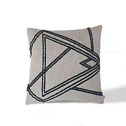 Divine Home Shapes Abstract Square Throw Pillow in Grey