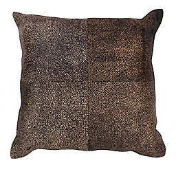 Divine Home® Speckled Genuine Cowhide Square Throw Pillow in Brown