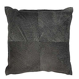 Divine Home® Shrunken Genuine Lambskin Square Throw Pillow in Black