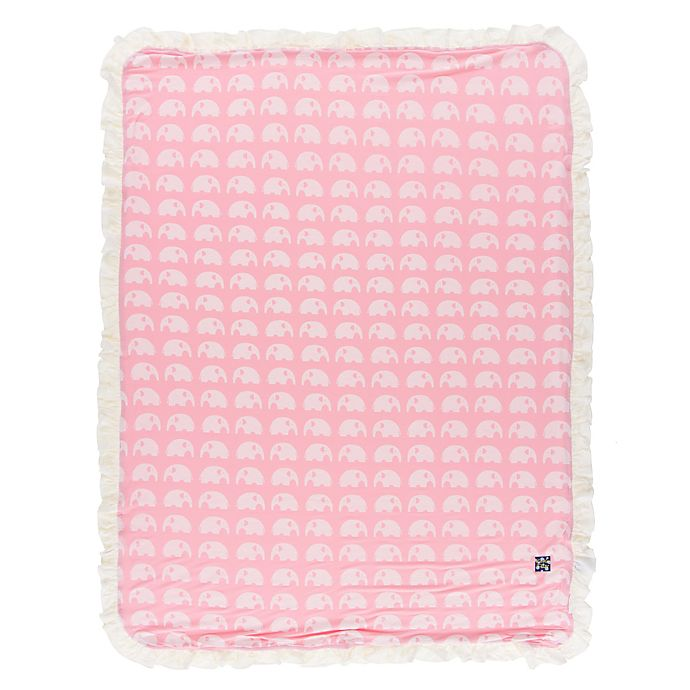 Alternate image 1 for KicKee Pants® Elephant Ruffle Stroller Blanket in Pink