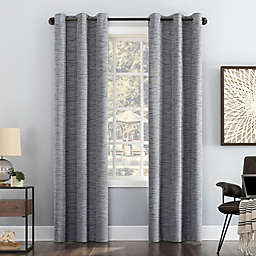 Sun Zero® Denver Distressed Stripe Total Blackout 96-Inch Curtain Panel in Navy (Single)