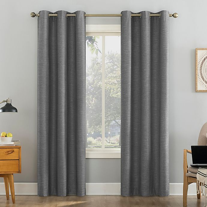 Alternate image 1 for Sun Zero® Liam Heathered Strie Thermal Extreme Total Blackout Curtain Panel (Single)