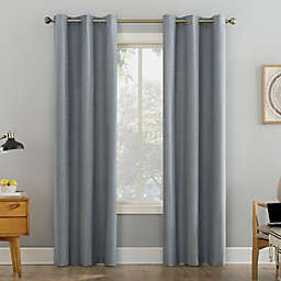 Sun Zero Liam Heathered Strie Thermal Extreme Blackout 63-Inch Grommet Curtain Panel in Haze