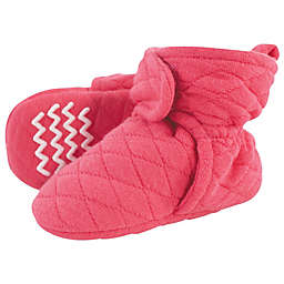 Hudson Baby® Quilted Booties in Dark Pink