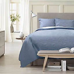 Canadian Living Textured Stria 3-Piece Duvet Cover Set in Blue