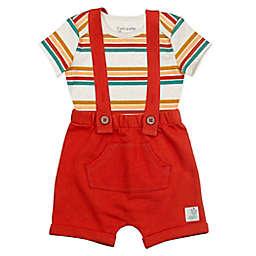 Mac & Moon 2-Piece Bodysuit and Shortall Set in Burnt Orange Stripes