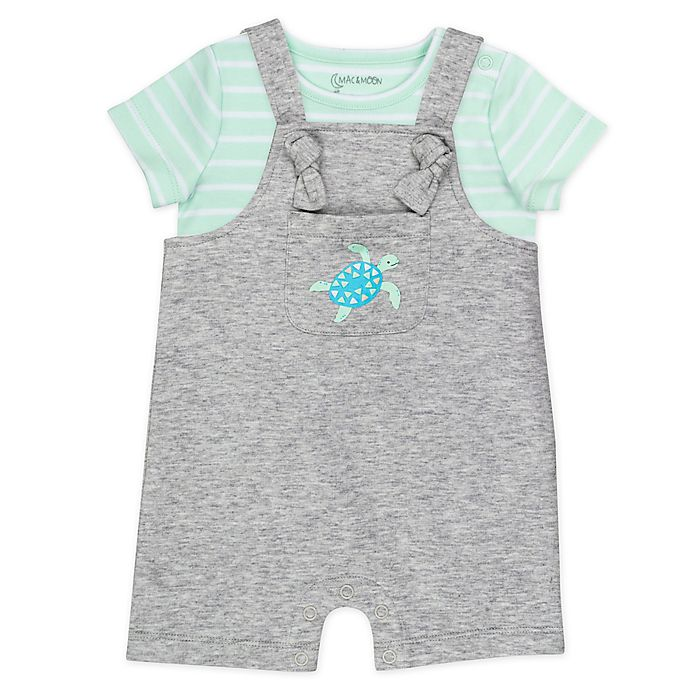 Alternate image 1 for Mac & Moon 2-Piece Organic Cotton T-Shirt and Shortall Set in Mint/Grey
