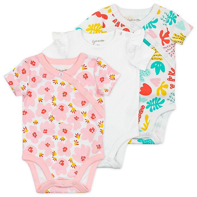 Alternate image 1 for Mac & Moon 3-Pack Floral Organic Cotton Short Sleeve Bodysuits in Coral