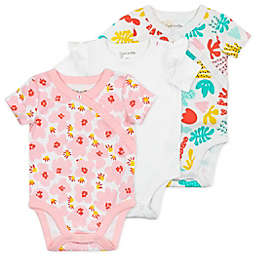 Mac & Moon 3-Pack Floral Organic Cotton Short Sleeve Bodysuits in Coral