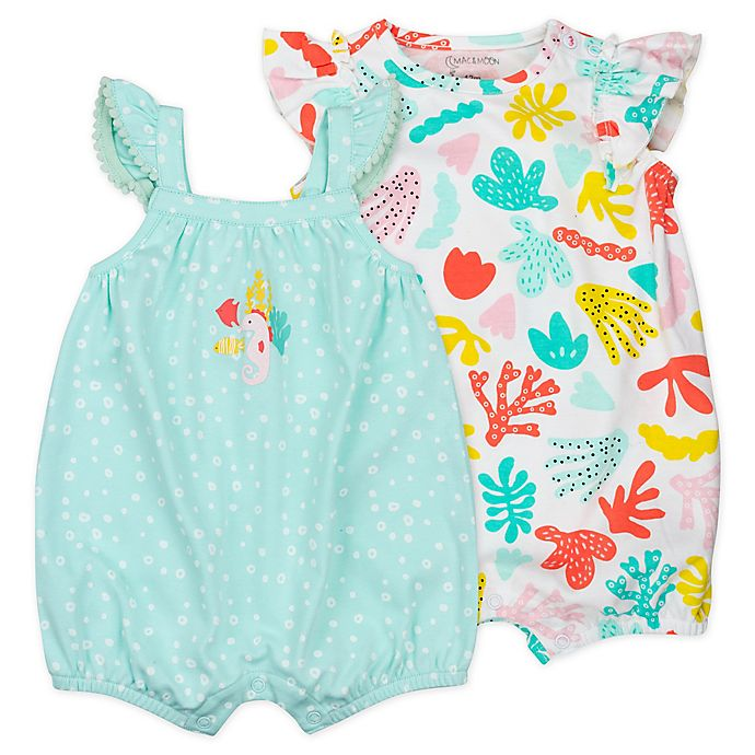 Alternate image 1 for Mac & Moon 2-Pack Coral Reef Sleeveless Organic Cotton Rompers