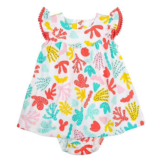 Alternate image 1 for Mac & Moon® Size 12M 2-Piece Coral Reef Print Dress and Diaper Cover Set