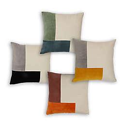 Divine Home Colorblock Velvet Square Throw Pillow