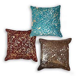 Divine Home Cosmic Metallic Cowhide Square Throw Pillow