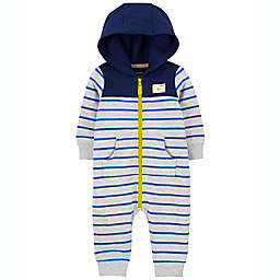 carter's® Size 3M Striped Zip-Up French Terry Jumpsuit in Navy