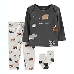"carter's® 3-Piece ""Cuddle Buddies"" Take Me Home Set in Grey"