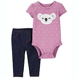 carter's® 2-Piece Koala Bodysuit and Pant Set in Purple
