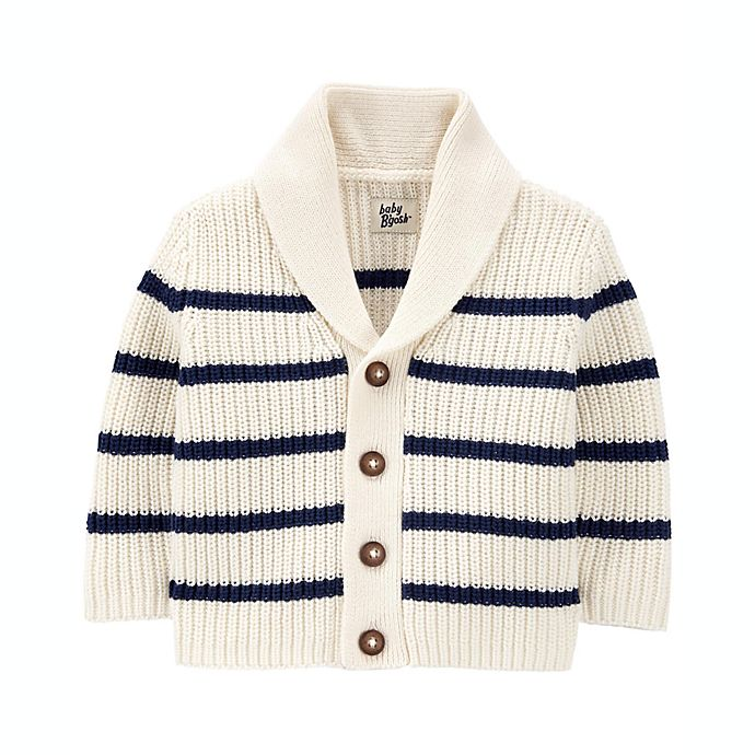 Alternate image 1 for OshKosh B'gosh® Striped Shawl Collar Sweater in White/Navy