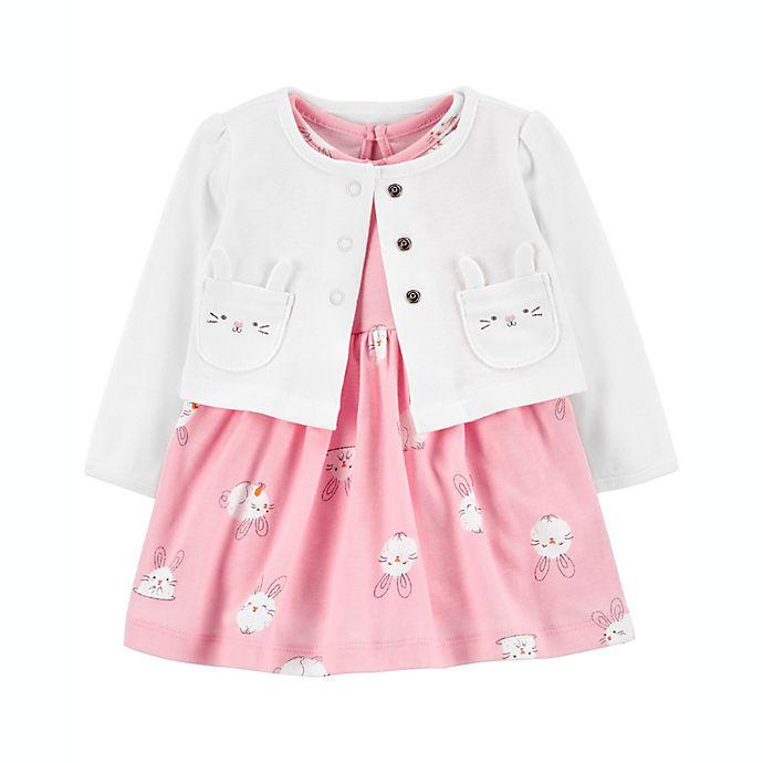Alternate image 1 for carter's® 2-Piece Easter Bunny Dress & Cardigan Set in Pink