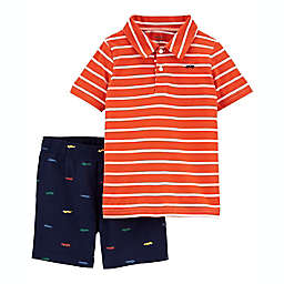 carter's® 2-Piece Short Sleeve Polo and Short Set in Orange/Navy