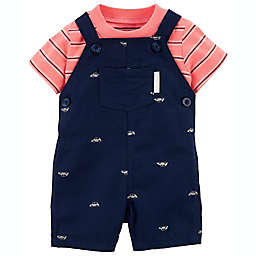 carter's® 2-Piece Cars T-Shirt and Shortall Set in Navy
