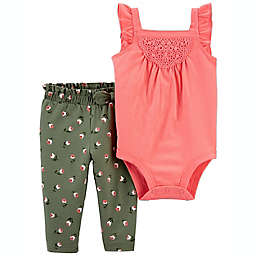 carter's® 2-Piece Tank Bodysuit and Floral Pant Set in Pink/Green