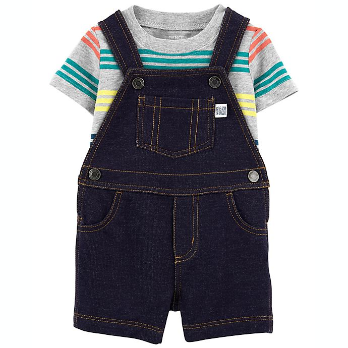 Alternate image 1 for carter's® Size 3M 2-Piece Striped T-Shirt and Knit Denim Shortall Set in Grey