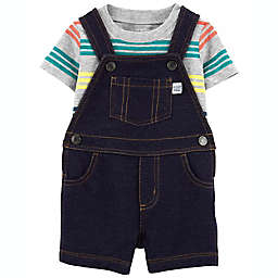 carter's® 2-Piece Striped T-Shirt and Knit Denim Shortall Set in Grey