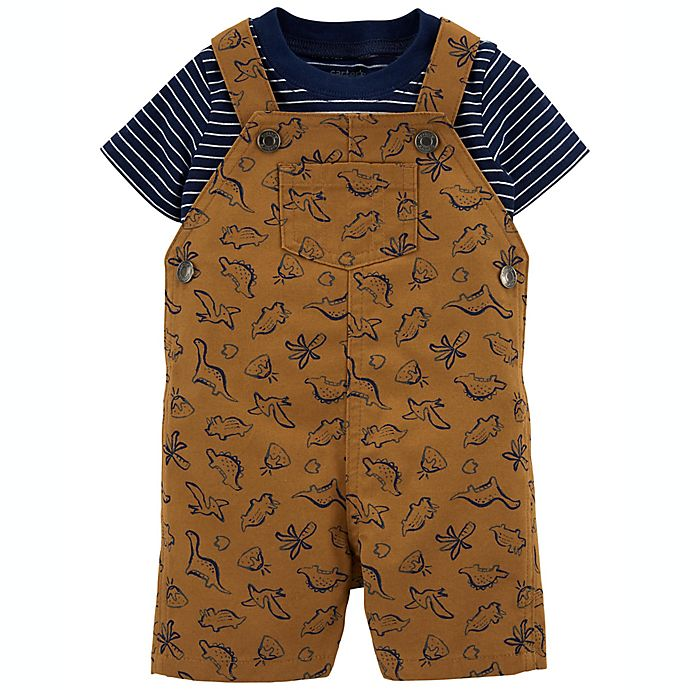 Alternate image 1 for carter's® Size 24M 2-Piece Striped T-Shirt & Dinosaur Shortall Set in Brown