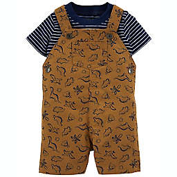 carter's® 2-Piece Striped T-Shirt & Dinosaur Shortall Set in Brown