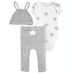 carter's® Size 3M 3-Piece Easter Bodysuit, Pant and Hat Set in Grey