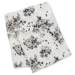 Lulujo Baby Deluxe Floral Swaddle in White/Black