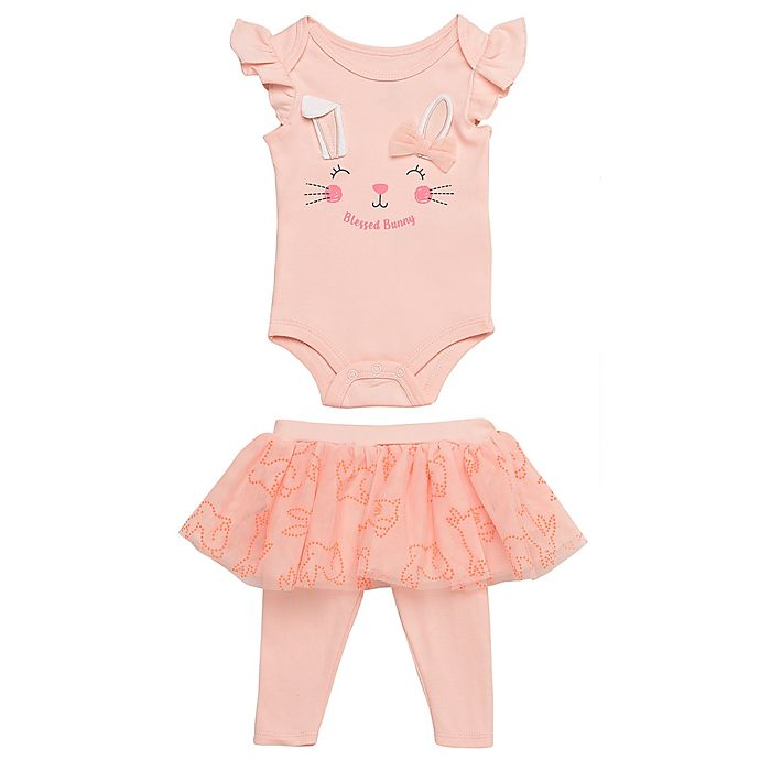 Alternate image 1 for Baby Starters® 2-Piece Blessed Bunny Bodysuit and Skirted Legging Set in Coral