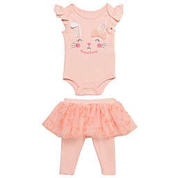 Baby Starters® 2-Piece Blessed Bunny Bodysuit and Skirted Legging Set in Coral