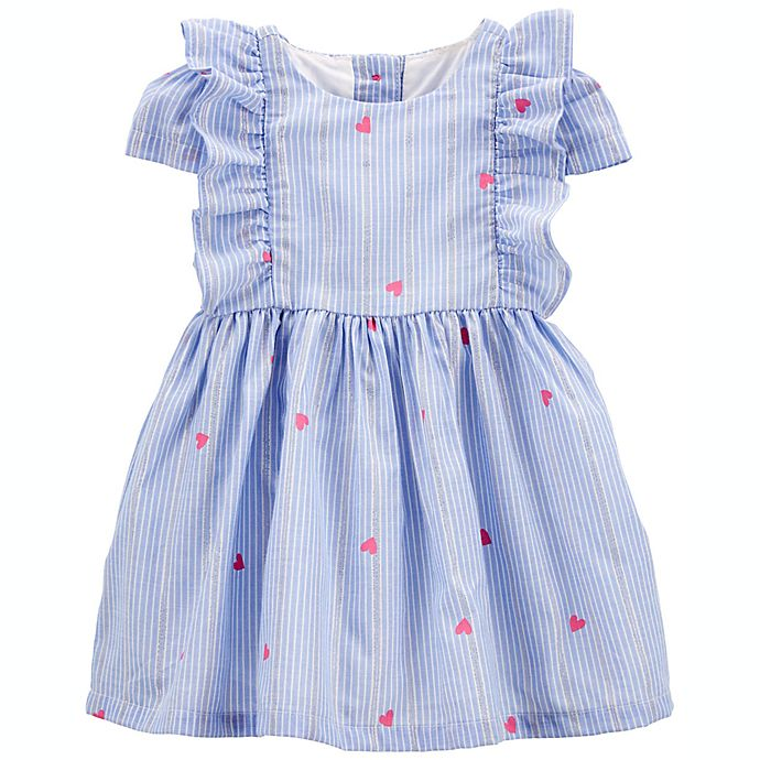 Alternate image 1 for OshKosh B'gosh® Sparkle Stripe Heart Print Dress in Blue/Pink