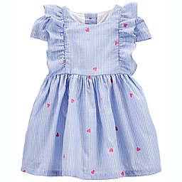 OshKosh B'gosh® Sparkle Stripe Heart Print Dress in Blue/Pink