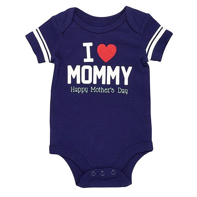 Alternate image 1 for Baby Starters® Heart Mommy Bodysuit in Navy